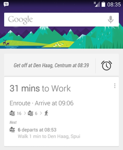 Google Now public transportation alerts