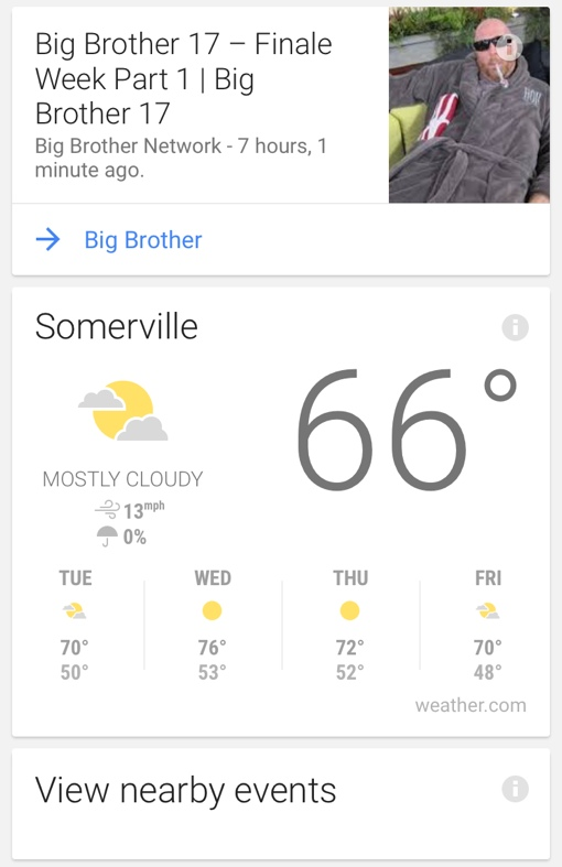 Google Now recommendations
