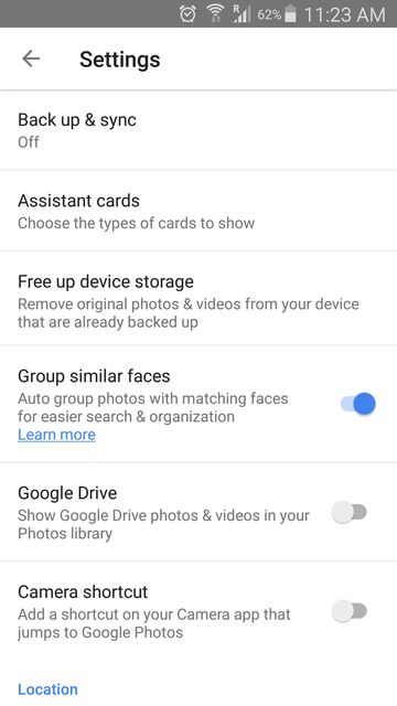 Google Photos app settings