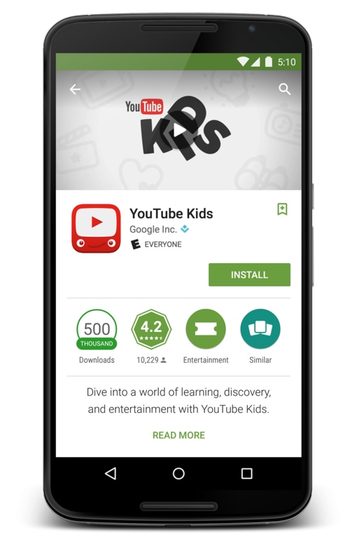 Google Play ESRB rating system (YouTube Kids app shown)