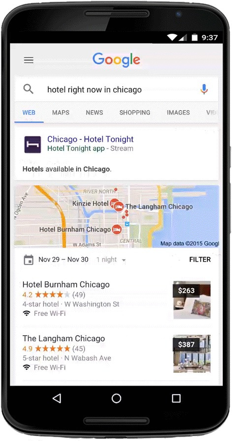 Google Search indexes and streams apps