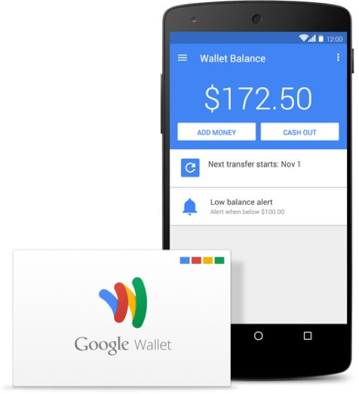 Google Wallet card next to a phone displaying the app