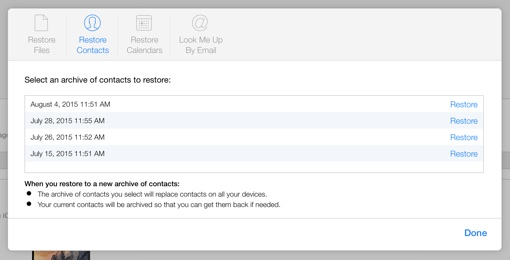 iCloud Restore Feature