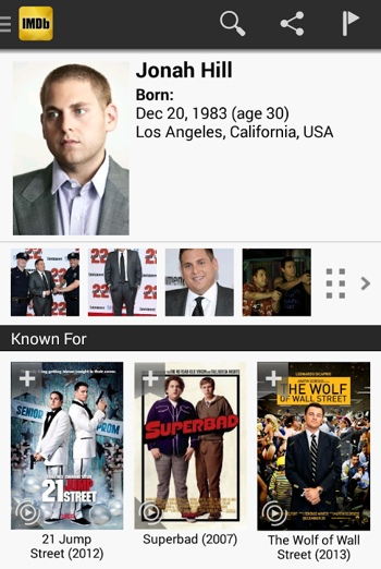 IMDb app screenshot of Jonah Hill content