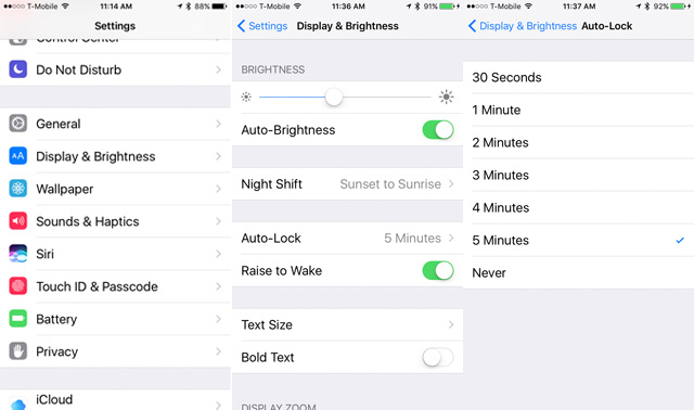 iOS 10: Reduce Screen Brightness