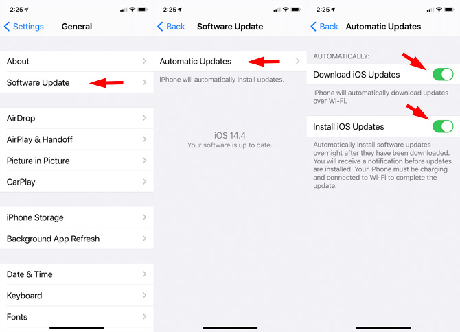 iOS automatic software update