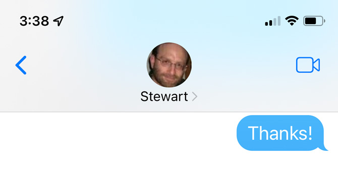 Screenshot of iMessages showing a message with Stewart and the Facetime icon at the top and the word Thanks in the text messaging area.