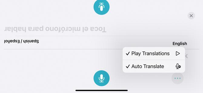 Screenshot of iOS 15 Translate showing the option menu of Play Translations and Auto Translate