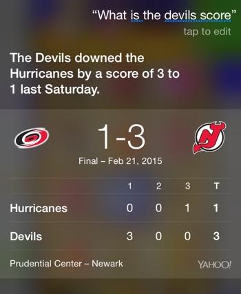 Siri Voice Activated sports score (NJ Devils)