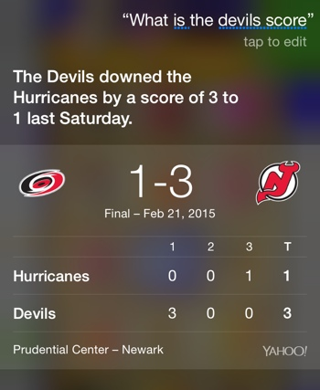 Siri Voice Activated sports score (NJ Devils)