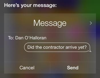 Sending a text via voice command on iOS