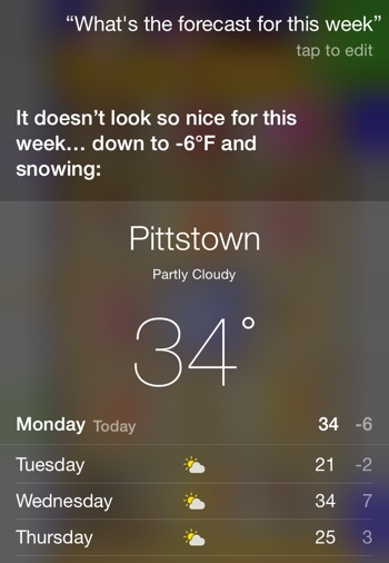 Voice activated weather forecast on iOS