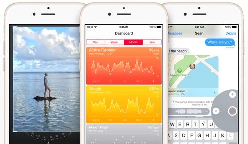 iOS 8 screenshots (three phones)