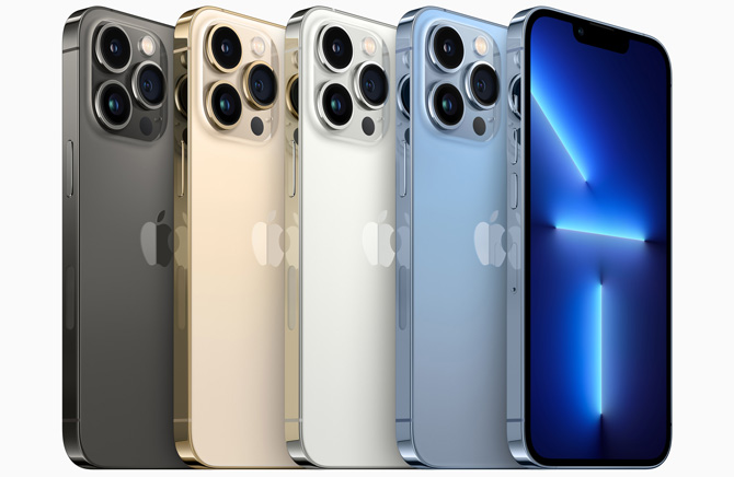 iPhone 13 Pro backs in slate gray, gold, silver, and saphire blue and the front in saphire blue.