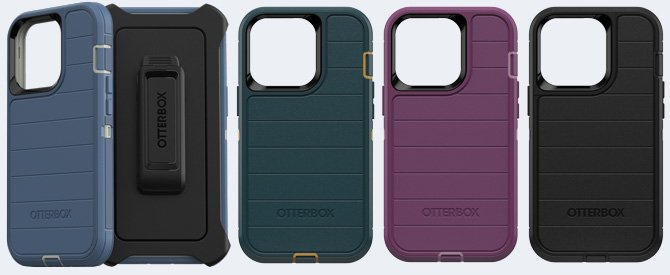 OtterBox Defender Series Pro shown from the left in blue with a shot of the back and belt clip, green, purple and black.