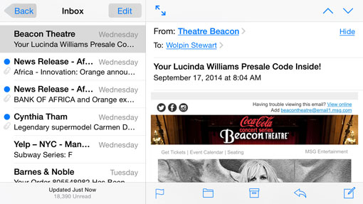 iPhone 6 Plus mail interface