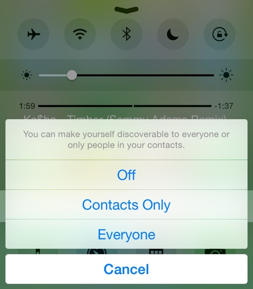 iPhone AirDrop settings