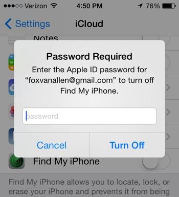 iPhone Password Required screen