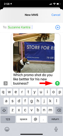 Screenshot of text messages showing dog photos and selected text in new message. The send button is pointed out.