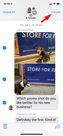 Screenshot of text messages showing dog photos and the option to