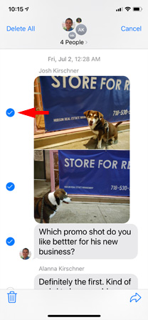 Screenshot of text messages showing dog photos and text with checkmarks next tow three items. One of the checkmarks is pointed out.