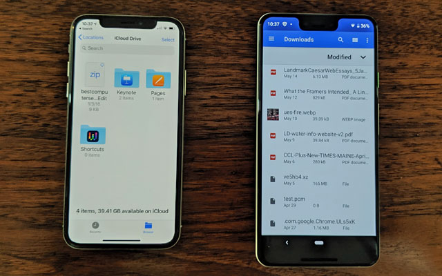 File store on iPhone X vs. Google Pixel 3XL