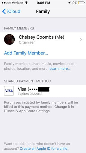 How to add a Family Member to Apple's Family Sharing