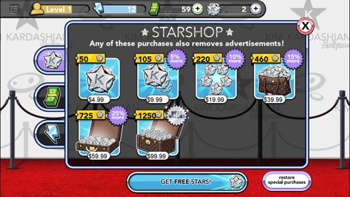 In-app purchasing in Kim Kardashian's Hollywood