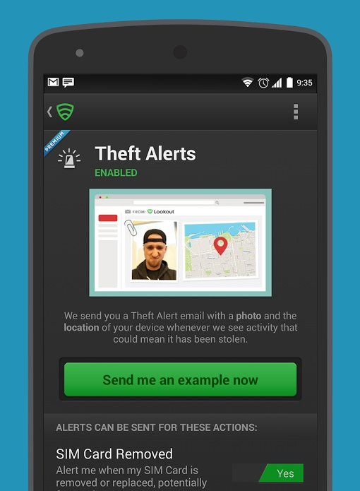 Lookout mobile security app 'Theft Alerts'