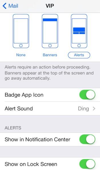 Mail app VIP notifications