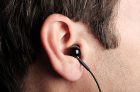 man wearing earphone