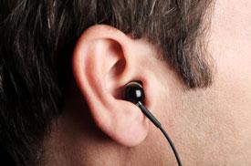 man wearing earphone