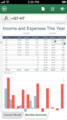 Microsoft Excel for the iPhone