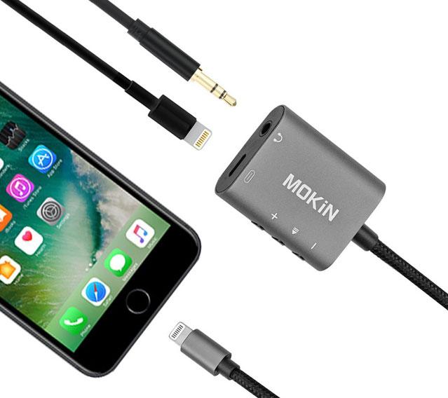 For multitasking: MOKiN lightning-to-3.5 mm-headphone jack adapter