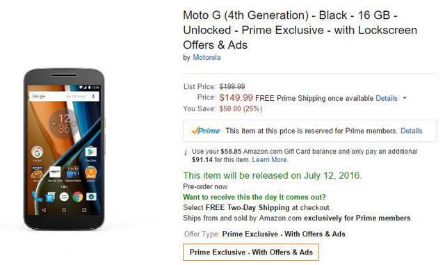 Amazon Prime members get 50% off the Moto G