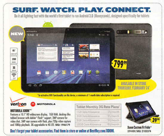 Motorola Xoom Best Buy flyer