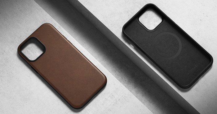 Nomad Modern Leather cast shown on the left in brown and on the right the interior of the brown case.