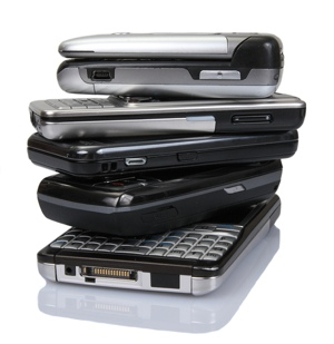 Old cell phone pile