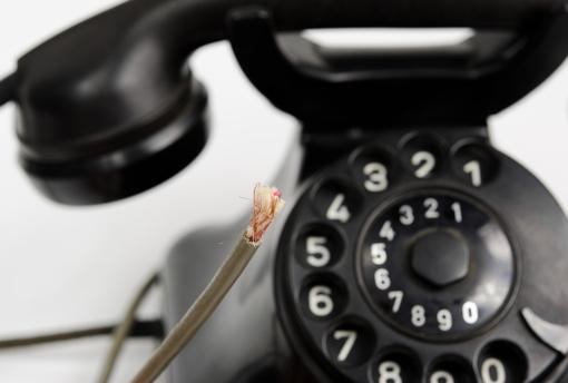 Old copper landline phone
