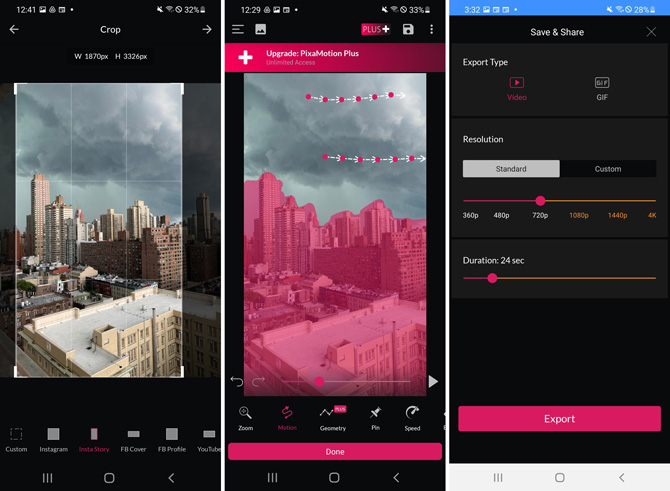 3 screenshots of PixaMotion app. From the left, screenshot 1 cropping image to Insta Story size. Screenshot 2 shows arrow on clouds to animate the clouds and areas colored in pink on buildings to prevent animation. Screenshot 3 shows options to save as video or GIF, resolution from 240p to 4K, and duration, with a save button at the bottom.