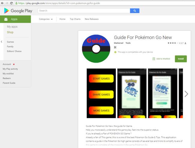 Pokemon Go Guide Malware