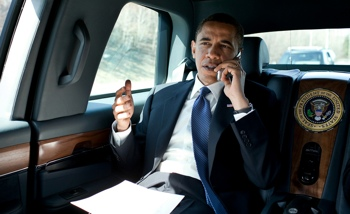 President Obama using a cell phone