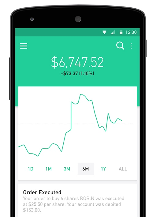 Robinhood brokerage app for Android