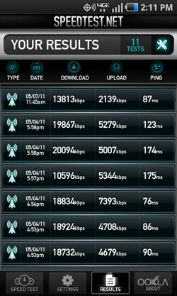 Samsung Droid Charge speed test