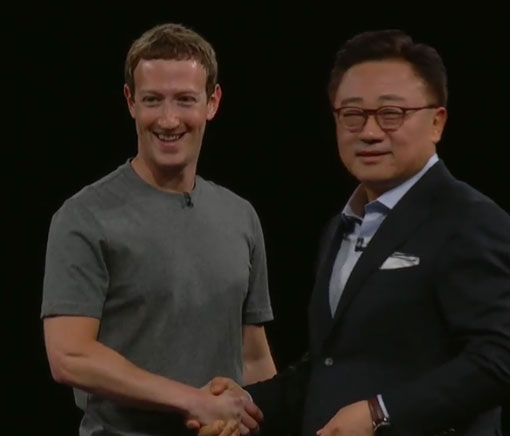 Mark Zuckerberg, Facebook, with DJ Koh, President of Mobile Communications Business, Samsung Electronics