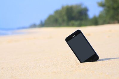 smartphone on the beach