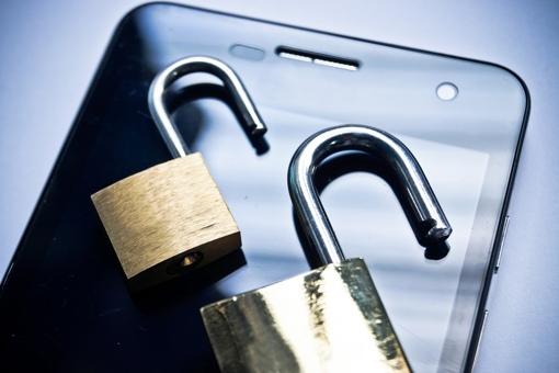 Smartphone with unlocked padlocks