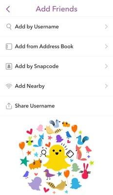 Snapchat Add Friends Menu