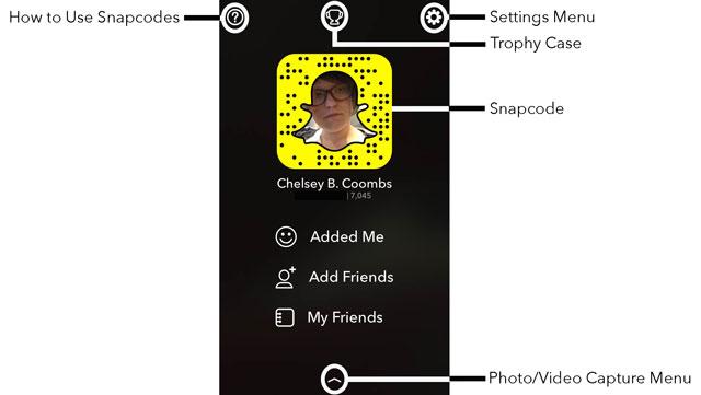 Snapchat Personal Info/Stats/Add Friends Menu