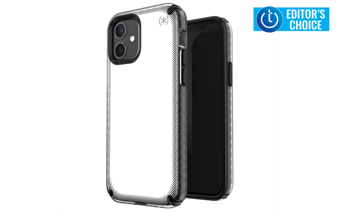 Speck Presidio 2 Armor Cloud case shown in white from the front and back . Techlicious Editor's Choice award logo in upper right